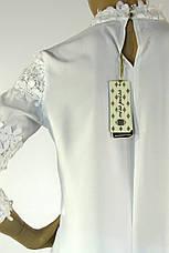 Нарядна біла шифонова блузка з мереживом , фото 3