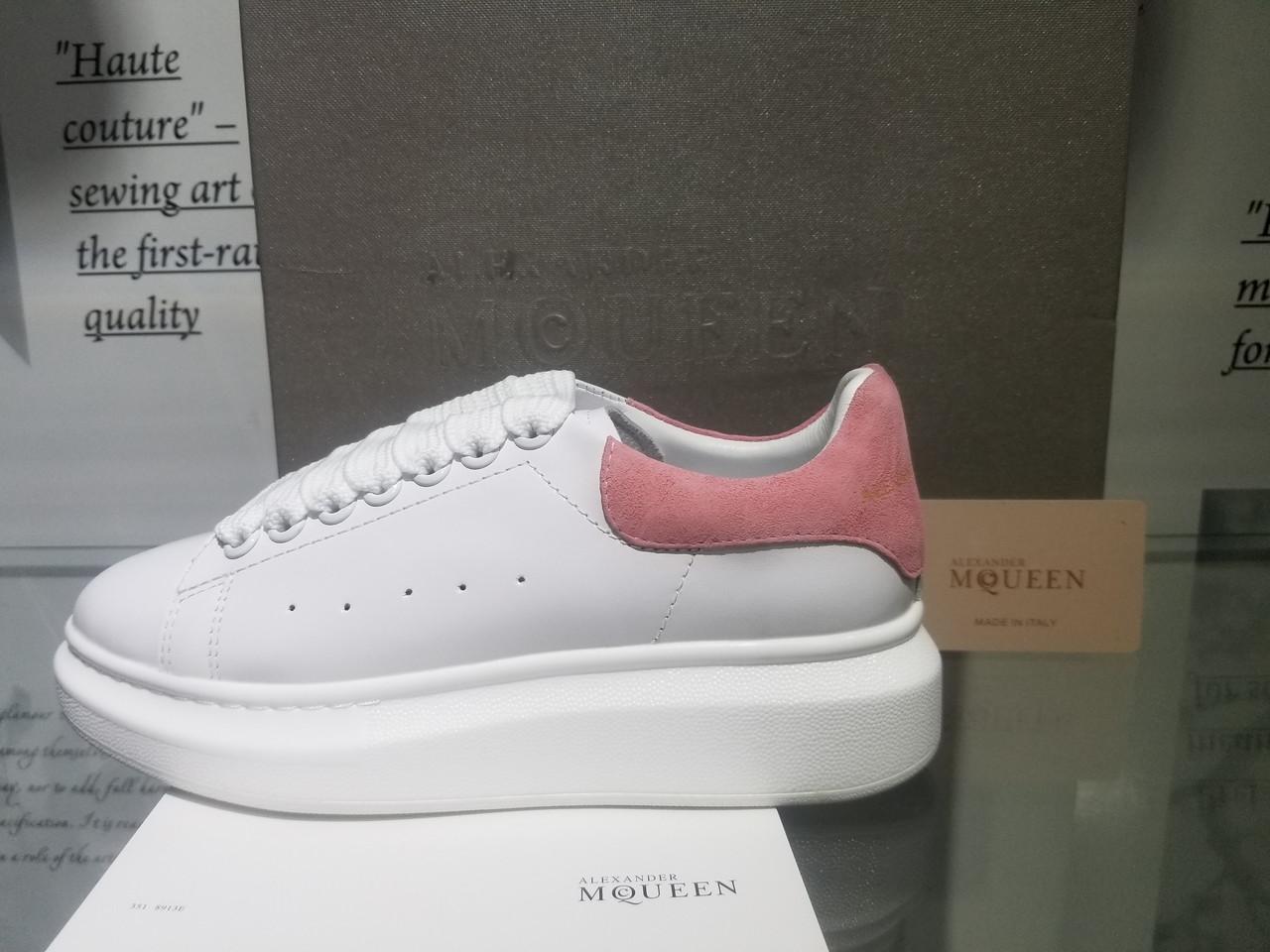 b8526bde Кроссовки, кеды женские Alexander McQueen, натуральная кожа, белые с  розовым, 36-
