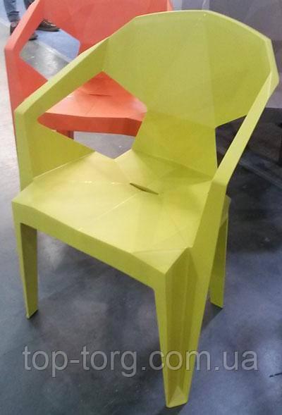 Кресло пластиковое Muzе mustard plastic с подлокотниками, желтый цвет