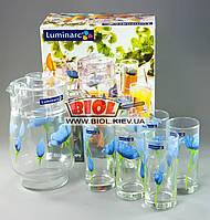 """Набор кувшин + 6 стаканов 270 мл (питьевой набор) """"Blue Poppy' Luminarc G2026"""