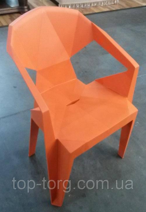 Кресло пластиковое Muzе mandarin plastic с подлокотниками, оранжевый