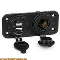 Авто мото панель: 2x USB-зарядки + прикуриватель