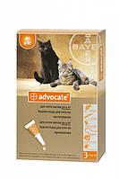 Адвокат для котов до 4 кг Bayer (Германия) препарат для кошек от внешних и внутренних паразитов