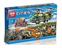 Конструктор Lepin серия Cities 02087 Грузовой вертолёт исследователей вулканов (аналог Lego City 60125)