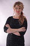 Платье черное кружево гипюр коктейльное  вечернее 48 50 52 54 56  боталы., Пл 097-2, фото 4