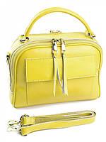 Женский чемоданчик из натуральной кожи желтый 2087, фото 1