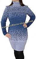 Вязаное платье большого размера Леопард 596 р 48-54