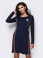 Молодежное спортивное платье из трикотажа с нашивками 90267/2, фото 1