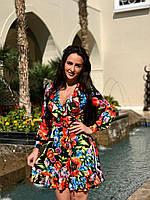 Воздушное женское платье с цветочным принтом