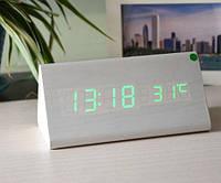 Часы Wooden Clock белые треугольные