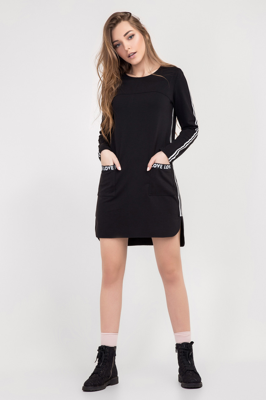 Модне жіноче плаття-туніка чорного кольору