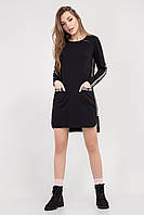 Модное женское платье-туника черного цвета