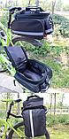 Сумка велосипедная велоштаны на багажник черная, фото 5