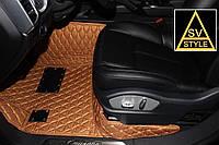 Коврики в салон PorscheCayenne Кожаные 3D (2010-2018) Рыжие, фото 1