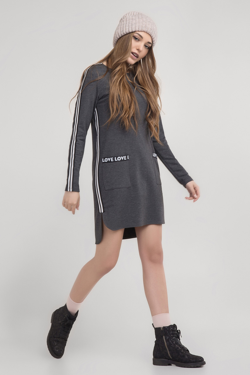 f2d804c20e1 Стильное женское платье в спортивном стиле темно-серого цвета ...