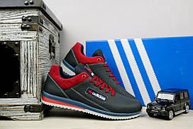 Подростковые кожаные кроссовки Adidas цвет Синий\Красные 10880 р. 36 37 38 39