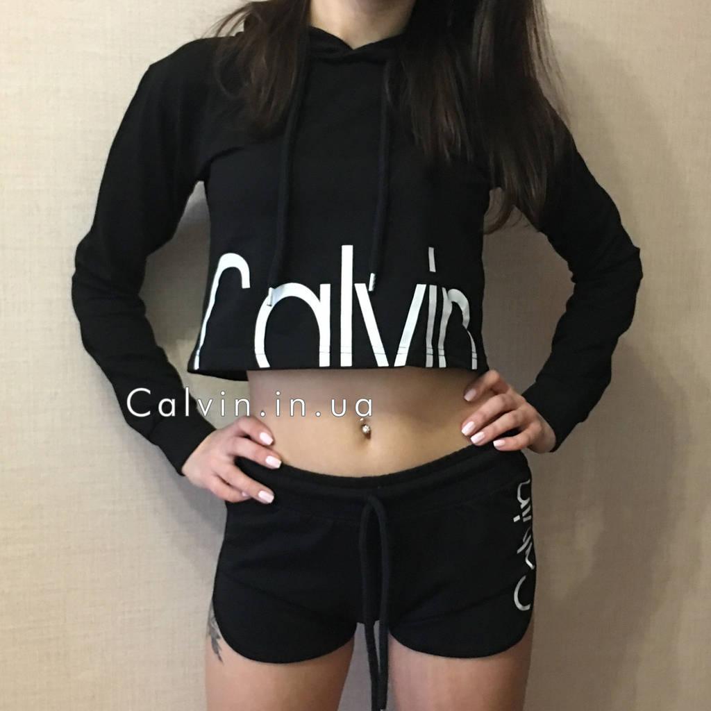 Шорты + кофта с капюшоном Calvin Klein черная