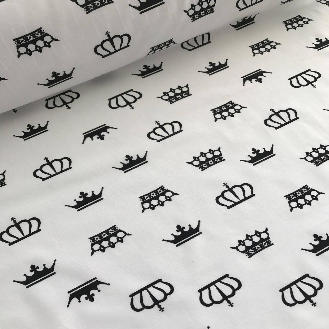 Хлопковая ткань польская черные короны на белом №22