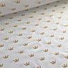 Хлопковая ткань ЛЮКС золотые (глиттер) короны на белом №17