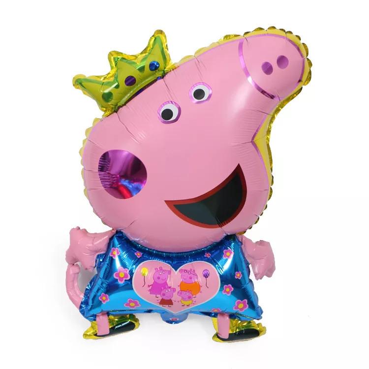 Фольгированный шар свинка пеппа в короне 80*45 см