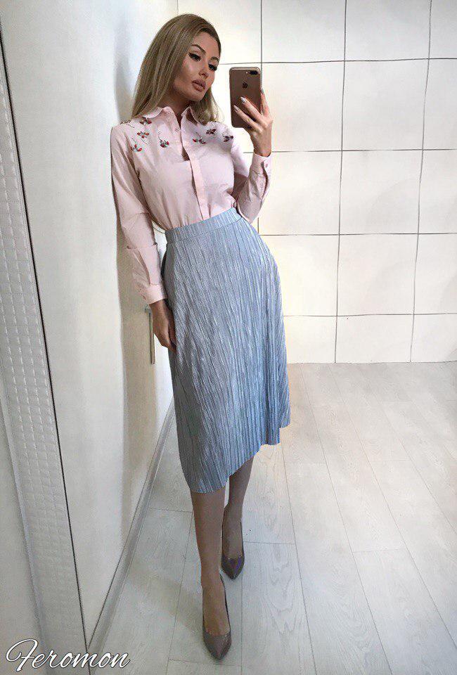 e519b5a2083 Женская стильная трикотажная юбка гофре с напылением - Интернет-магазин