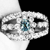 """Элегантный перстень с александритом и сапфирами """"Нежность"""", размер 17 от студии LadyStyle.Biz, фото 1"""