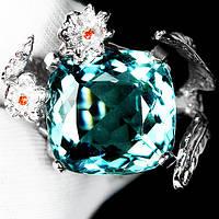 """Изящный перстень с аквамарином  """"Цветочный"""", размер 17,3 от студии LadyStyle.Biz, фото 1"""