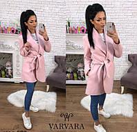 Новинка весны! женское пальто с поясом кашемир Турция пудра 42-44 44-46, фото 1