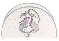"""Салфетница керамическая """"Влюбленные коты"""" (подставка для салфеток) 12.5х4.2х7.5см"""