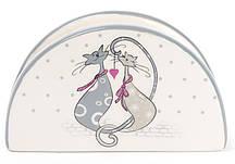 """Салфетница керамическая """"Влюбленные коты"""" подставка для салфеток 12.5х4.2х7.5см"""
