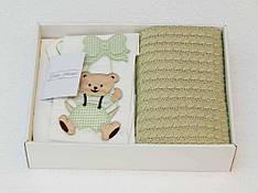 Комплект постельного белья Gelin Home + вязаный плед детское зеленый