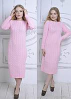 Женское  платье вязаное, ниже колена в розовом цвете ( АК-019 )