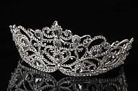 """Диадема """"Сyclamen"""" (цвет: серебро) в камнях, украшение для головы, диадема на заколках, диадема на невидимках, украшения для невест"""