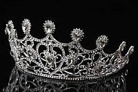 """Диадема - корона """"Рhlox""""(цвет: серебро) в камнях, украшение для головы, диадема на заколках, диадема на невидимках, украшения для невест"""