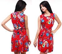 Платье женское летнее, яркое в цветочек в красном цвете