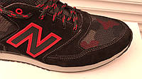 Мужские кроссовки NIKE с сеткой натуральная замша черные с красным, р.  40, 41, 42, 43, 44, 45