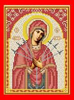 """Схема, частичная вышивка бисером, атлас, икона Божья матерь """"Семистрельная"""""""