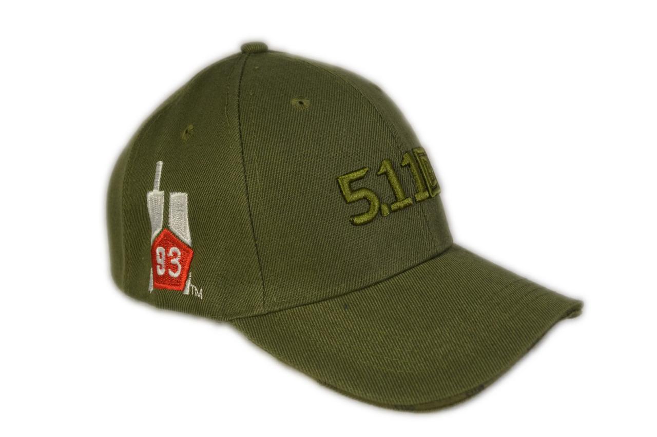 """Бейсболка тактическая 5.11 (логотип 93"""") оливковая"""