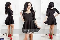 Женское платье Розы черный ткань дайвинг длина 76см