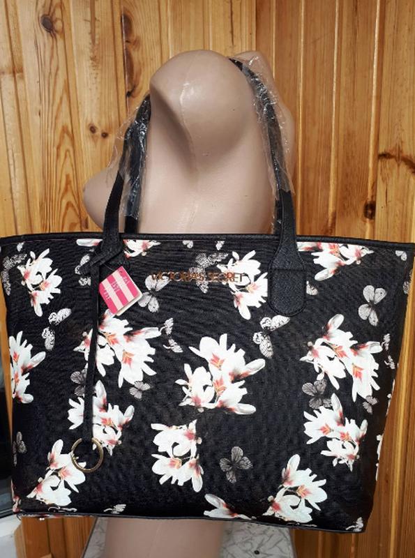 Сумка женская черная с цветами Victoria's Secret 1755