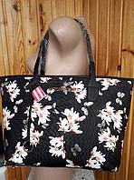 Сумка женская черная с цветами Victoria's Secret 1755, фото 1