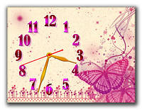 "Настенные часы ""Розовая бабочка"" 30х40 см красивый подарок"