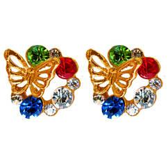 Серьги Бабочки с Цветными Стразами
