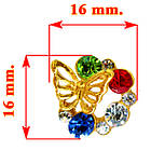 Сережки Метелики з Кольоровими Стразами, фото 2