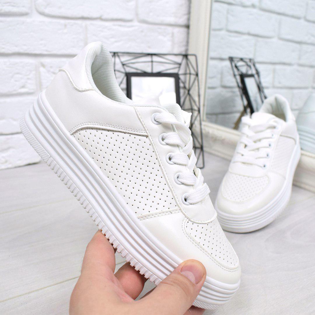 a76a8a2baf2d Кроссовки криперы Перфорация белые, женская обувь - Интернет-магазин