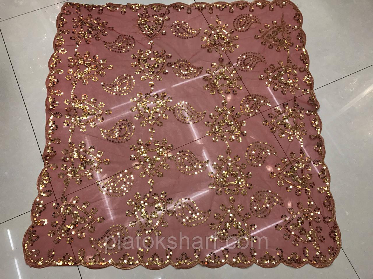 Дорогие платки расшитые Паетками. В упаковке 5(6) Белые и цветные