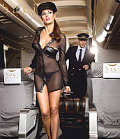 BACI Эротический игровой костюм «Любимица пилота» 3-piece Black stewardess unifo