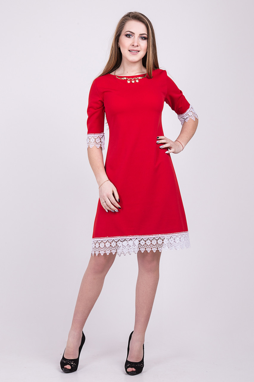 f02a81e12b1f143 Модное короткое красное платье трапеция с белым кружевом 109-7 ...