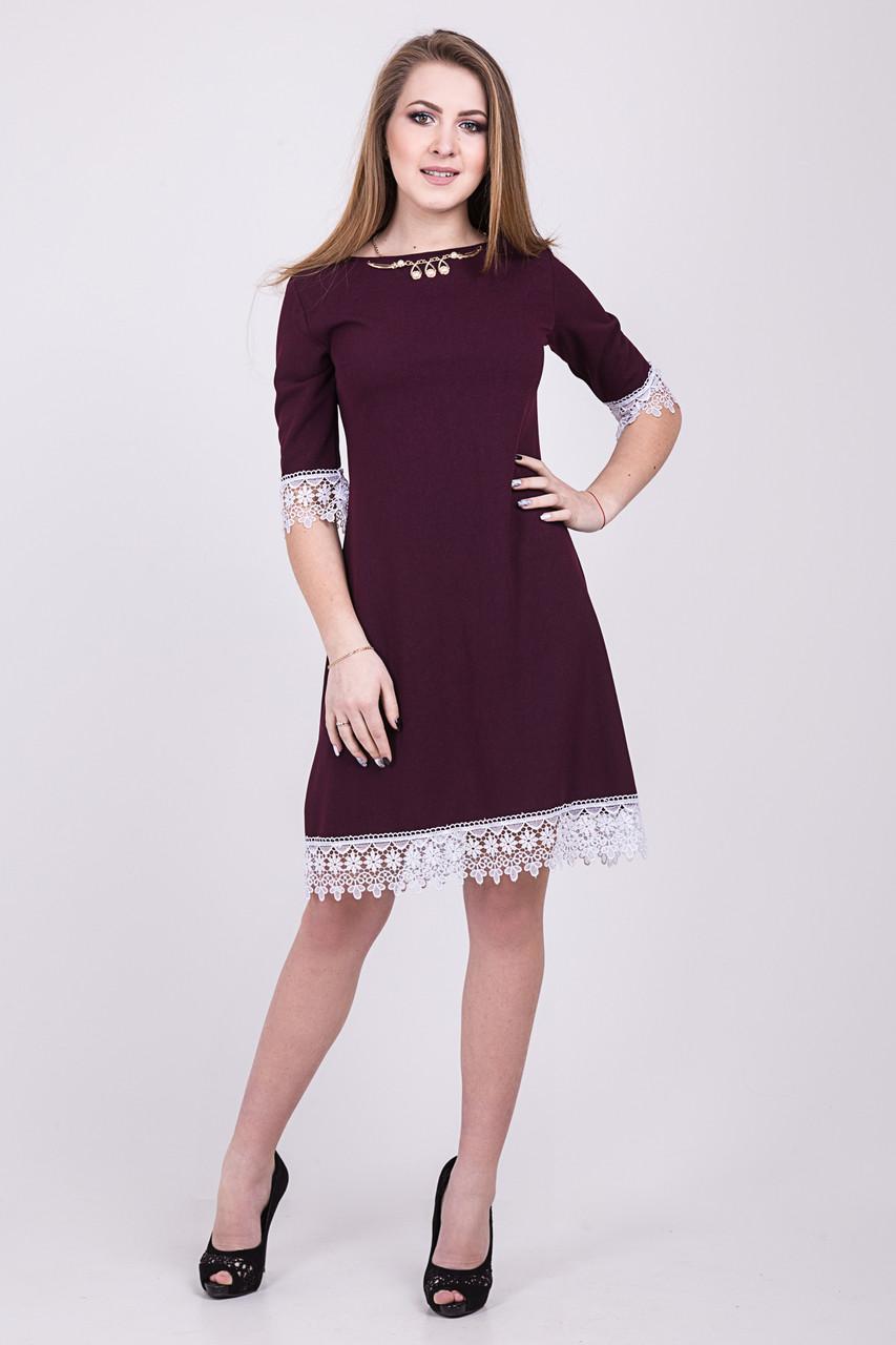 c2e73e00427 Модное короткое платье трапеция бордового цвета с белым кружевом 109 ...