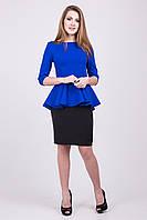 Стильный женский костюм кофта с баской и юбка карандаш 134